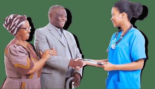 nurse consulting a senior couple