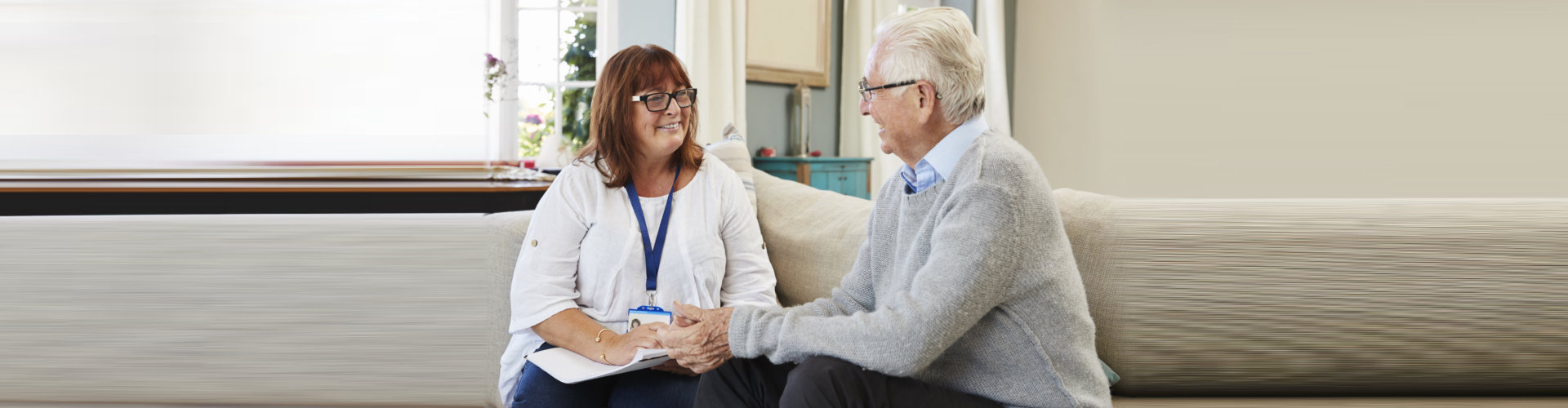 support worker visits senior man for his counselling